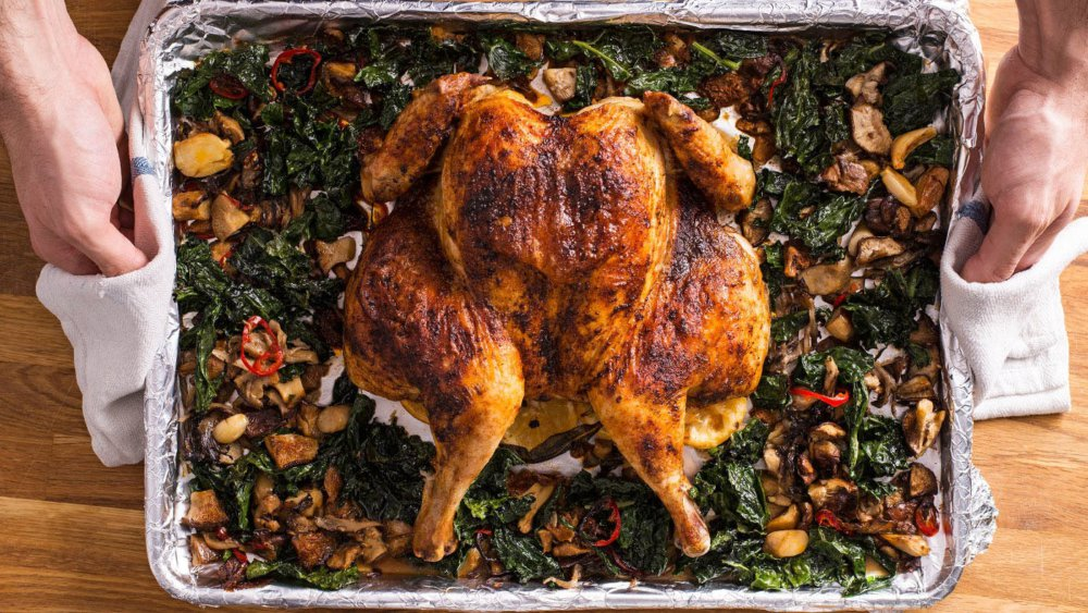 Sheet Pan Spatchcocked Chicken, Mushrooms and Kale